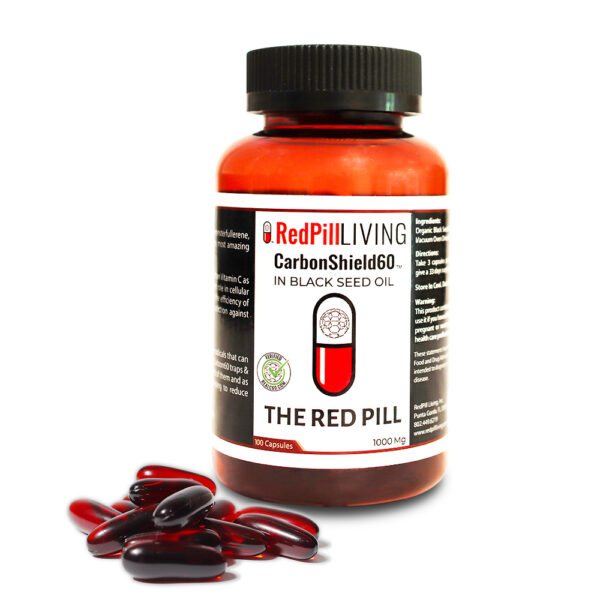 The Red Pill – CarbonShield C60 in Black Seed Oil – 1000mg/ 100 capsules